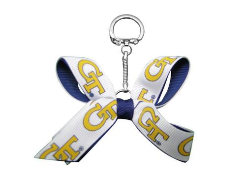 Georgia Tech Mini Bow Keychain