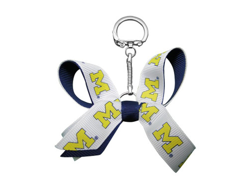 University of Michigan Mini Bow Keychain