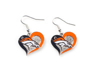Denver Broncos Swirl Heart Earrings