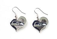 Seattle Seahawks Swirl Heart Earrings