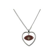 New Orleans Saints Mini Football Heart Necklace
