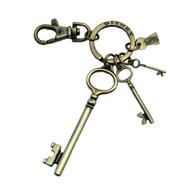 Alice in Wonderland Movie Brass Key with 3 Key Dangles Keychain