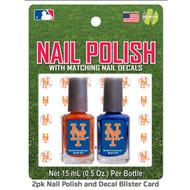 New York Mets Nail Polish Team Colors and Nail Decals