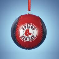Boston Red Sox Leather Baseball Ornament