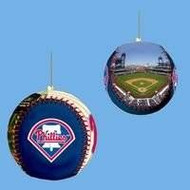 Philadelphia Phillies Leather Baseball Ornament