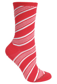 Candy Cane Red Ladies Socks