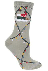 Dog & Christmas Lights Gray Ladies Socks