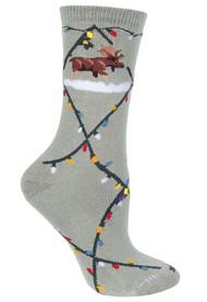 Moose & Christmas Lights Gray Ladies Socks
