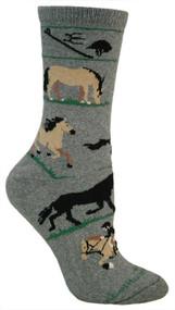 Horse Equestrian Dark Gray Cotton Ladies Socks