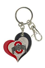 Ohio State University Swirl Heart Keychain