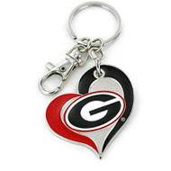 University of Georgia Swirl Heart Keychain