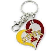Iowa State University Swirl Heart Keychain
