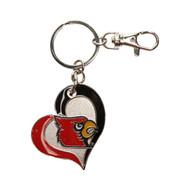 Louisville Swirl Heart Keychain