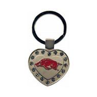 University of Arkansas Metal Heart Keychain