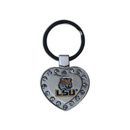 Louisiana State LSU Metal Heart Keychain