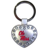 University of Mississippi Metal Heart Keychain