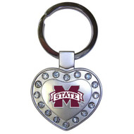 Mississippi State Metal Heart Keychain