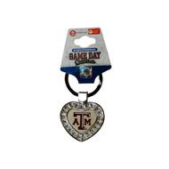 Texas A&M University Metal Heart Keychain