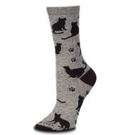 Cat Silhouette Marbled Grey Medium Socks