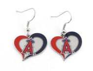 Los Angeles Angels Swirl Heart Earrings