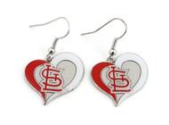 St. Louis Cardinals Swirl Heart Earrings