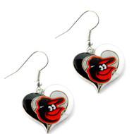 Baltimore Orioles Swirl Heart Earrings