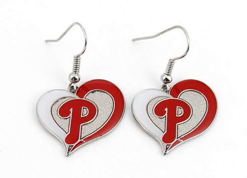 Philadelphia Phillies Swirl Heart Earrings