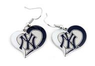 New York Yankees Swirl Heart Earrings