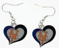 New York Mets Swirl Heart Earrings