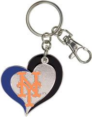 New York Mets Swirl Heart Keychain