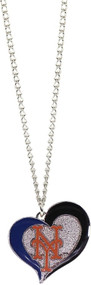 New York Mets Swirl Heart Necklace