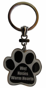 Wet Noses Warm Hearts Paw Print Keychain