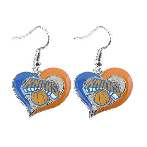 New York Knicks Swirl Heart Earrings