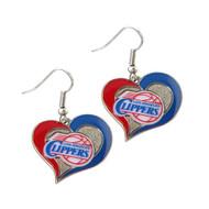Los Angeles Clippers Swirl Heart Earrings