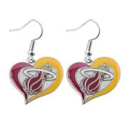 Miami Heat Swirl Heart Earrings