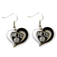 Brooklyn Nets Swirl Heart Earrings