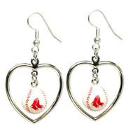 Boston Red Sox Mini Baseball Heart Earrings