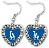 Los Angeles Dodgers Crystal Heart Earrings