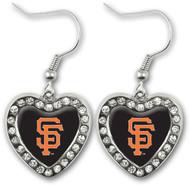 San Francisco Giants Crystal Heart Earrings
