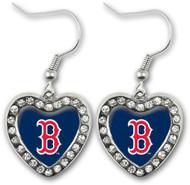 Boston Red Sox Crystal Heart Earrings