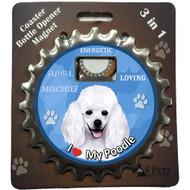 I Love my White Poodle Magnetic Bottle Opener