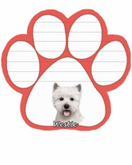 Westie Dog Paw Magnetic Note Pad