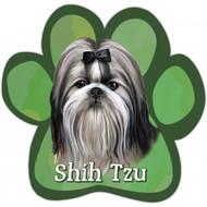 Black and White Shih Tzu Paw Print Magnet