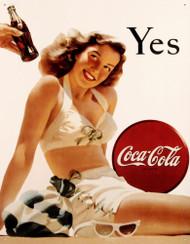 Coca-Cola White Bathing Suit Tin Sign