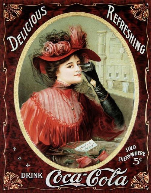 Coca-Cola Victorian Woman Tin Sign