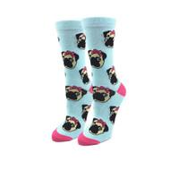 Lady Pugs One Size Fits Most Blue Blue Ladies Crew Socks