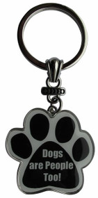 Dogs are People Too! Paw Print Keychain