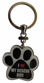 I Love My Rescue Dog Paw Print Keychain