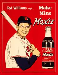 Ted Williams Make Mine Moxie Tin Sign
