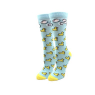 Rubber Ducky One Size Fits Most Blue Ladies Crew Socks